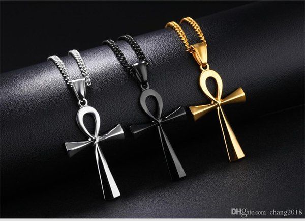 Ankh Cross Pendant Men 's Necklace Steel _ Black _ Gold Color Stainless Steel Smooth Design Blessing Religious Gift gjGX1180