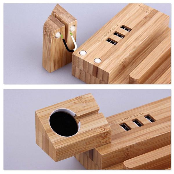 Schnelle Lade 4 Slot 3 USB-Anschlüsse Holzladestation Telefon Tablet-Tischladegerät-Dock-Station