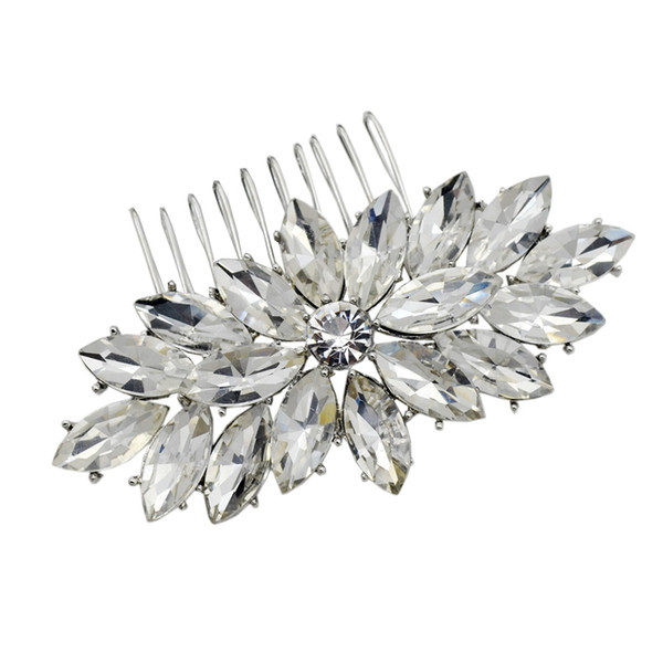 top popular 2 Inch Marquise Crystal Diamante Women Jewlery Comb Hair Accessory 2021