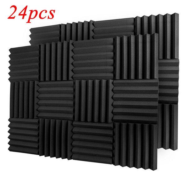 "top popular (24Pack) Wedge Studio Acoustic Foam Sound Absorption Panels Soundproofing Panels Sound Treatment Tiles Fireproof BLACK 2"" X 12"" X 12"" 2021"
