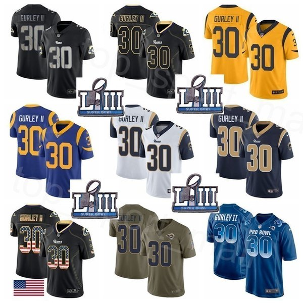 cheap for discount 1eeb0 e0919 2019 Super Bowl LIII Patch Men Women Kids Los Angeles Rams Todd Gurley II  Jersey 30 Superbowl Man Woman Youth Blue White Gold Pro Bowl From ...