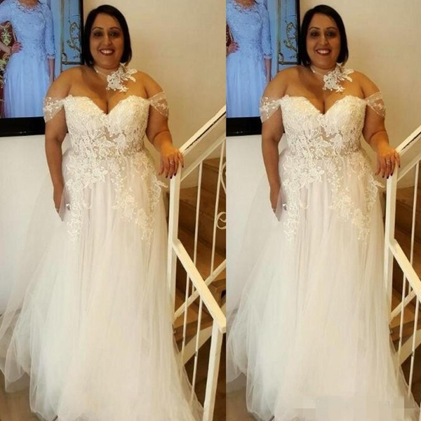 2019 Chic плюс размер A-Line Свадебные платья Кружева Аппликация с плеча Cap Рукава из бисера Жемчуг Страна свадебное свадебное платье