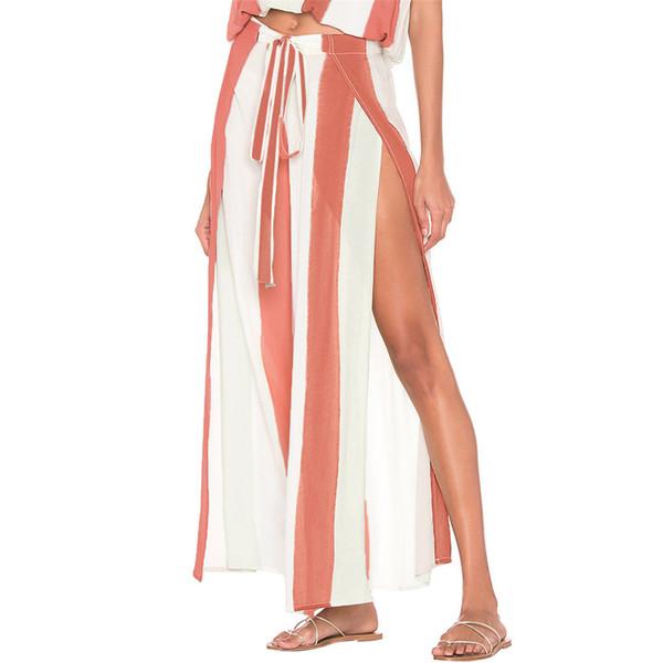 feitong wide leg pants women summer Women's Elegant Striped Split Wide Leg Pants High Waisted summer trousers women pantalones#3