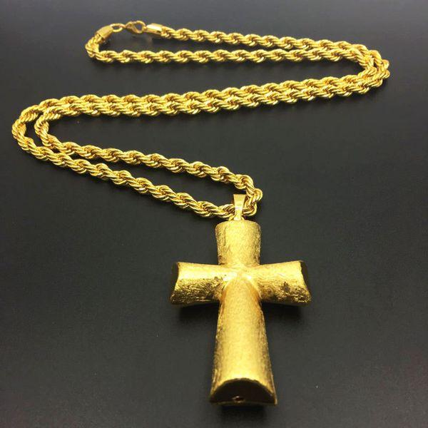 Mens Charm Cross Pendant Chokers Necklaces Fashion Hip Hop Jewelry Design 75cm Long Chain Punk Rock Filling Pieces Mens