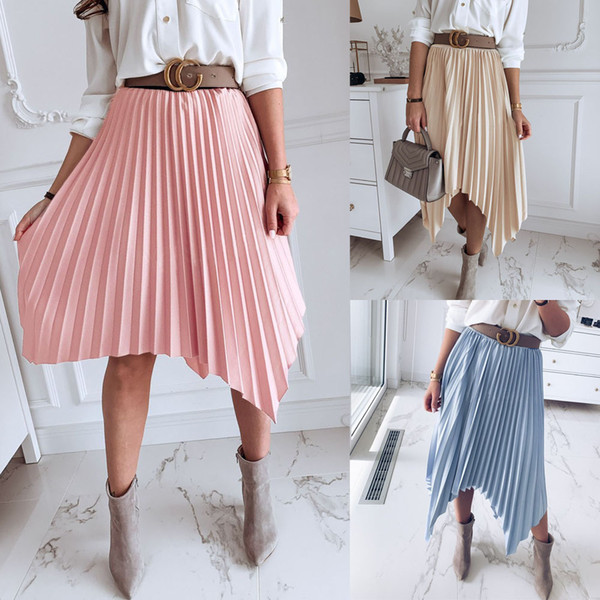 Falda plisada de las mujeres Cintura elástica de la moda Falda hasta la rodilla de color sólido Diseño asimétrico Office Ladies Irregular OL