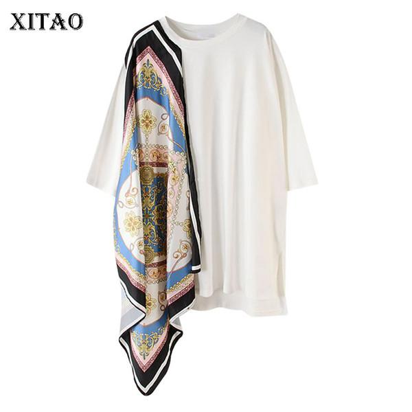 [XITAO] 2019 Verano Corea Moda Nueva O-cuello Media manga Pullover Tee Mujer Patchwork patrón de impresión Irregular camiseta ZQ1437