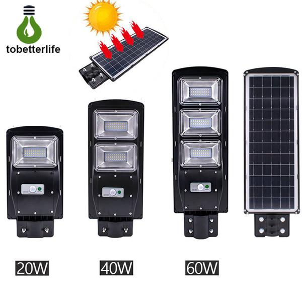 Nuevo LED Luz de calle solar 20W 40W 60W PIR Sensor de movimiento Control de luz IP67 Impermeable Solar luz de la pared exterior con poste de montaje