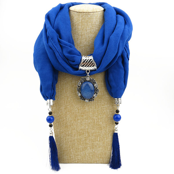 Ethnic Synthetic Stone Pendant Silk Scarf Necklace Neckerchief Scarves Women Fringe Tassel Necklaces New Fashion Jewelry scarves