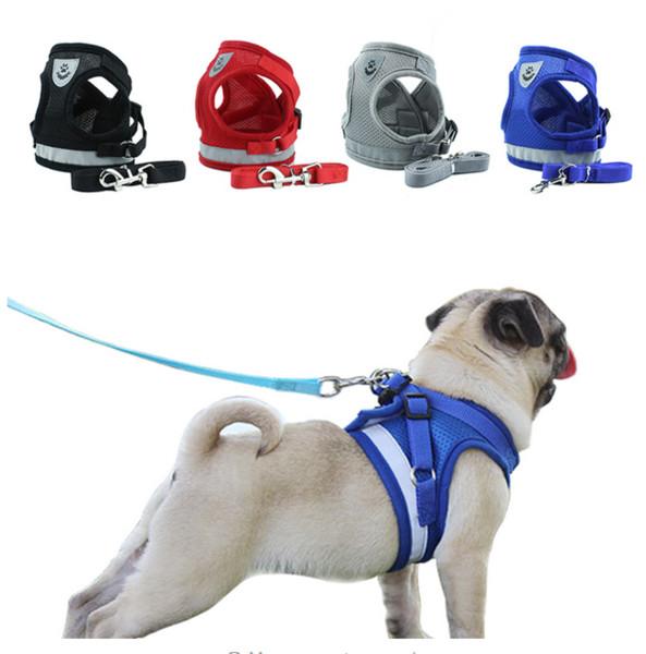 Hund Katze Harness Pet Einstellbare reflektierende Weste Walking Lead Leine für Welpen Polyester Mesh Harness für Small Medium Dog
