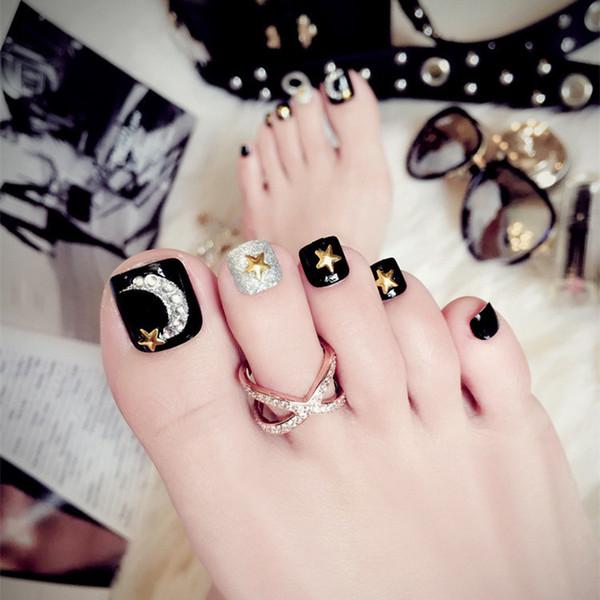 2019 Toe nail patch finished black fake foot nails fashion durable waterproof J58 black star