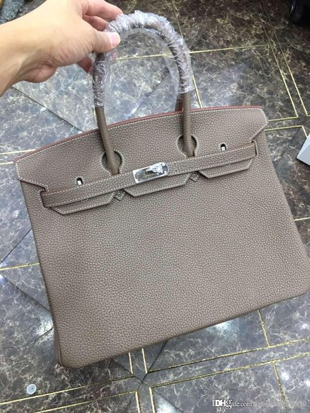 TOTE 100% handmade Canvas High Top Quality Wax oil line bags togo Genuine Leather women handbag bags Top Handle Swift Cowhide Totes