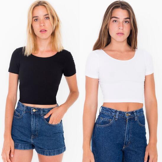 Al por mayor- Camisetas de mujer Sexy Crop Top de manga corta Tops Camiseta básica de cuello redondo para mujer 7 colores Talla S-4XL