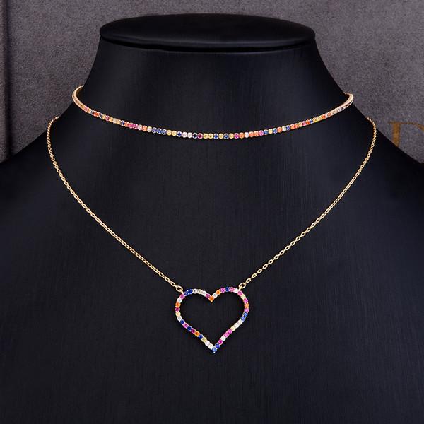 Regalo del día de la madre 2 en 1 delicado inicial gargantilla collares corazón personalizado collar apilable joyería para mujer novia regalo