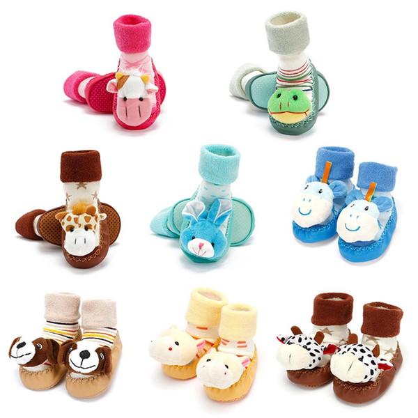 Cartoon Animal Cute Baby Boy Girls Socks Anti-Slip Rubber Soles Thicken Warm First Walkers Floor Socks Toddler