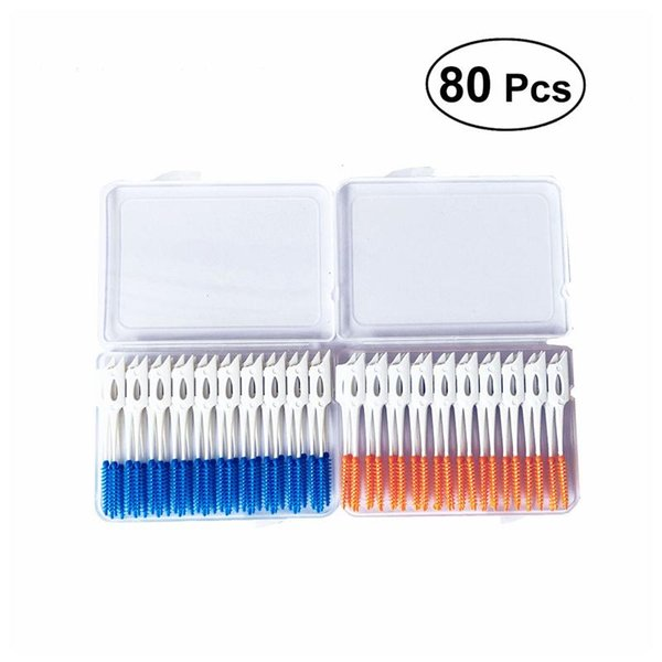 80Pcs Soft Plastic Massage Gums Gingival Interdental Brush Toothpick Toothbrush Floss Dental Flosser Pick Tooth Clean Tool