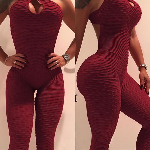 2019 Yeni Varış Kadın Tasarımcı Yoga Kalaylı Tulum Pantolon Moda Yaz Kadın Katı Renk Tulumlar Spor Yoga Pantolon