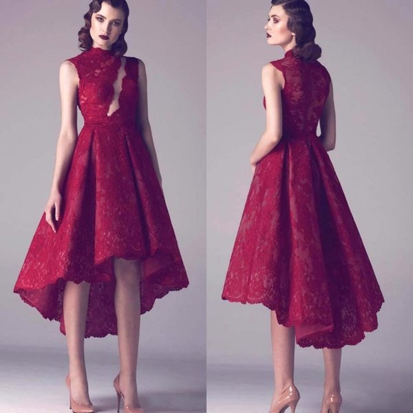 2019 Krikor Jabotian Prom Dresses Wine Red Lace Short Plus Size Cocktail Dresses High Low Party Dress Plus Size Homecoming Dresses BA4587