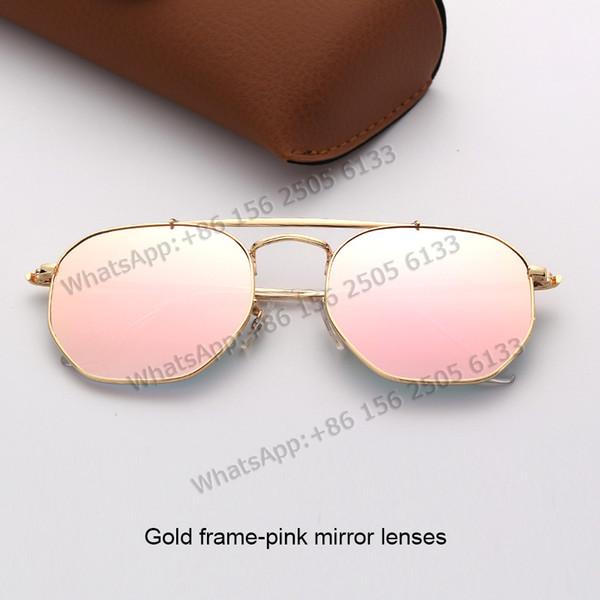 Oro lenti a specchio telaio rosa