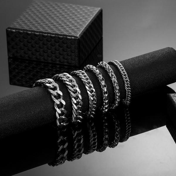 6 конструкций из нержавеющей стали Armbanden женский кубинский цепи браслеты для Hombre человек Bracalete хип-хоп ювелирные изделия дропшиппинг