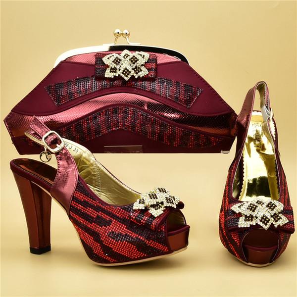 Nigerianische Party Schuh- und Taschen-Sets bei Frauen Passende Schuhe und Taschen-Set Burgund Afrikanische Passende Schuhe und Taschen Italiener bei Frauen