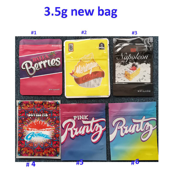 best selling Newest 3.5g Balla batteries Neringue cake Napoleon Runtz Devils Pie pink runtz Smell Proof Packaging Mylar Bag