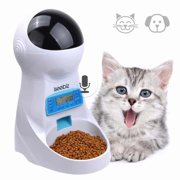 Ses Kaydı Ile 3L Otomatik Pet Gıda Besleyici Evcil Gıda Kase Orta Küçük Köpek Kedi LCD Ekran Dağıtıcılar Için 4 kez Bir Gün