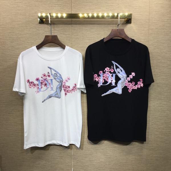 19SS DI Robot Fleur Lettre Imprimé Tee De Mode Respirant Hommes Femmes T-shirt Casual Lâche Streetwear Hip-T-shirt T-shirt HFLSTX345