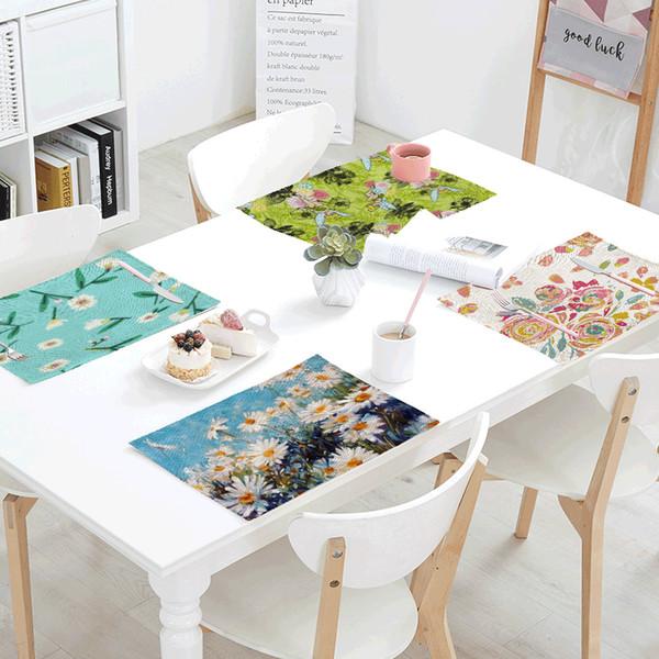 Renkli Çiçek Desen Yemek Bez Güzel Elf Sıcak Papatya Hibiscus çiçek Havuç Basit Stil Aile Masa Örtüsü Dekorasyon