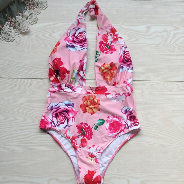Cross Criss Strap Bikini One Piece Swimwear for Women Print Swimsuit 2019 Sexy Backless Monokini Bodysuit Lady Beach Swim Wear Bathing Suit