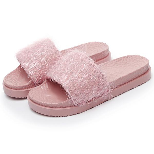 1Summer Flip Flops Women Slippers Tassel Beach Sandals Women Breathable Flat Slippers Casual Shoes Pink