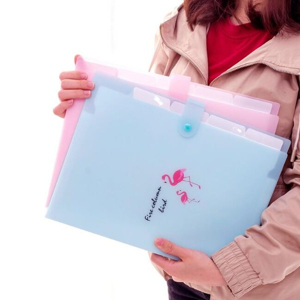 5 grids document bags flamingo printed A4 file folder candy color expanding wallet portable organizer paper holder office supplies