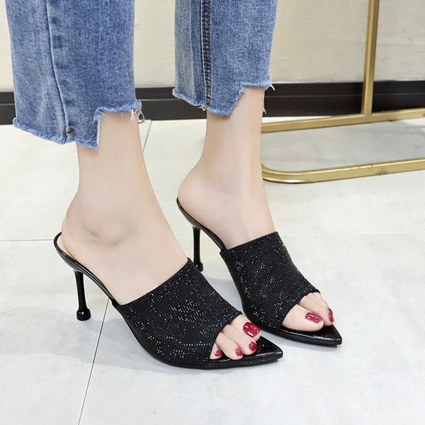 Rimocy 2019 Sandalias de las mujeres Stilettos Sexy Señoras Bling Crystal Zapatillas Mujer Moda punta abierta Celebrity Wearing zapatos de tacones altos