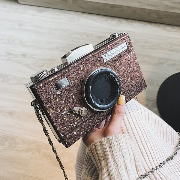 Fashion women shoulder bags chain strap Glitter Camera shape leather purse gift for girls evening party purse clutch bag