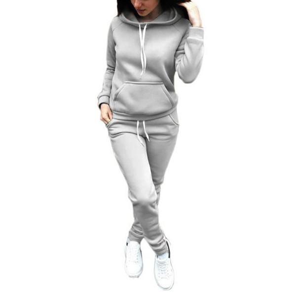 Autunno Inverno Sport Suit Donna Tute Pullover Top Running Set Tute da jogging Felpe 2 pezzi Abbigliamento sportivo Chandal Mujer C19040301