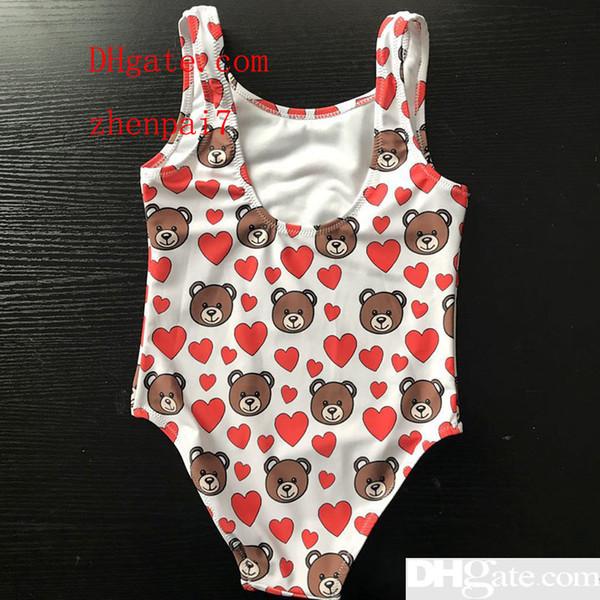 best selling New Hot Summer Kids Bear Full Pattern Swimwear Baby Girls Bikini Swimwear One-Piece Letter Swimsuit Swimming Wears