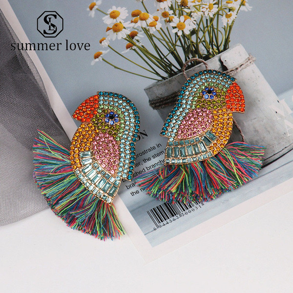 2019 New Flower Fish Bird Earrings for Women Crystal Large Earrings Boho Fringed Tassel Hanging Earrings Wedding Jewelry