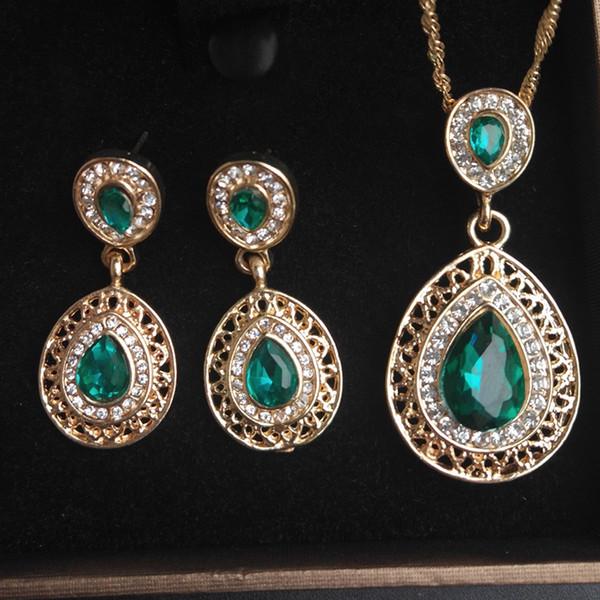 Verde Vermelho Azul Gota de Água Pingente De Noiva Conjuntos de Jóias Para As Mulheres Brinco E Colar