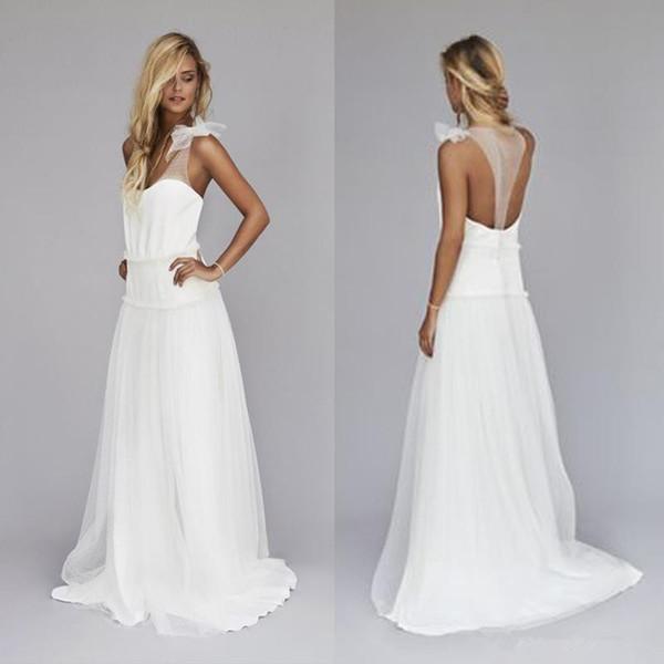 Vintage 1920s Beach Wedding Dresses Cheap Dropped Waist Bohemian V Neck Illusion Back Boho Bridal Gowns Custom Made