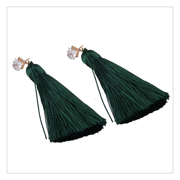 Womens Bohemia Diamonds Dangle Earring Long Rope Tassels Temperament Eardrop Let You Become The Focus Of The Crowd