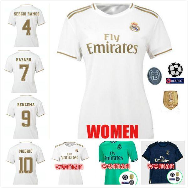 MULHER Real Madrid 19 20 HAZARD JOVIC MILITAO jersey camiseta de futebol 2019 2020 SERGIO RAMOS VINICIUS ASENSIO MODRIC BALE camisa de futebol