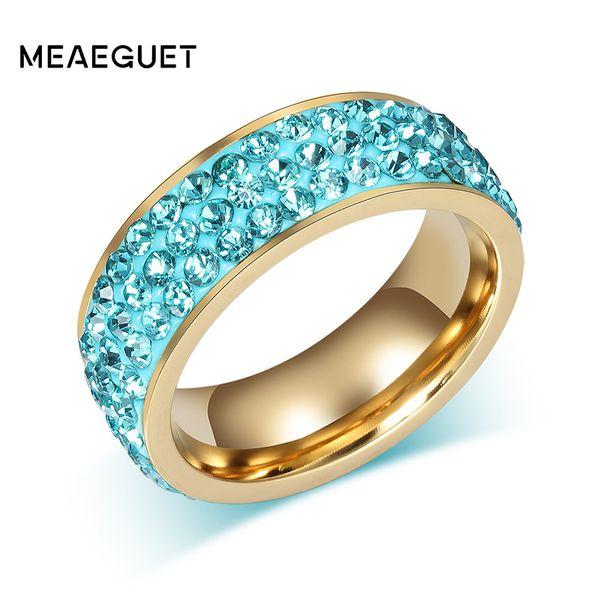 Meaeguet Trendy Mujeres Anillos de cristal Anillos de boda de acero inoxidable de color dorado para mujeres Joyería Rosa Azul