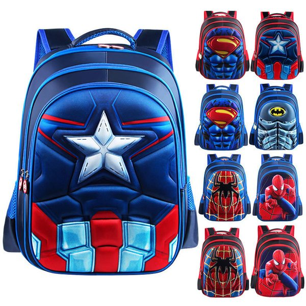 3D Comics Superman Batman Captain America Boy Girl Children Kindergarten School bag Teenager Schoolbags Kids Student Backpacks Y190601