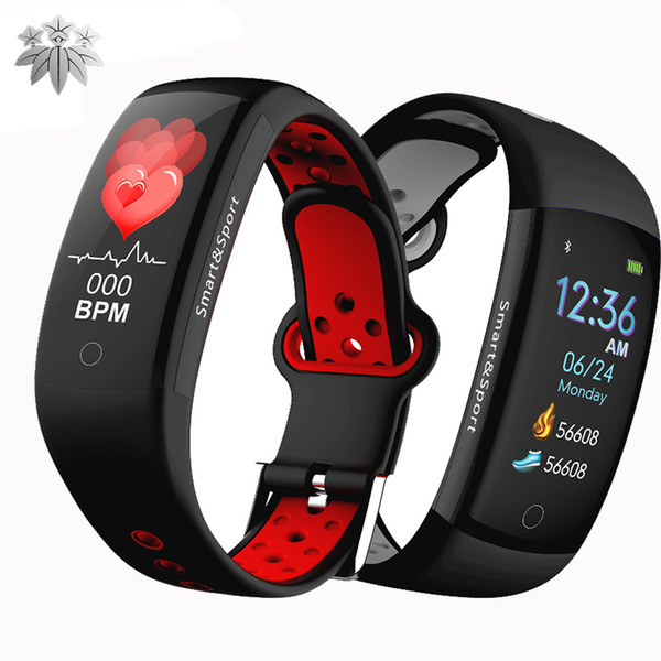 Q6S Smart Bracelet watch color screen HR Heart Rate Monitor Wristband Waterproof IP68 Activity Tracker Smart band for mobile cellphones