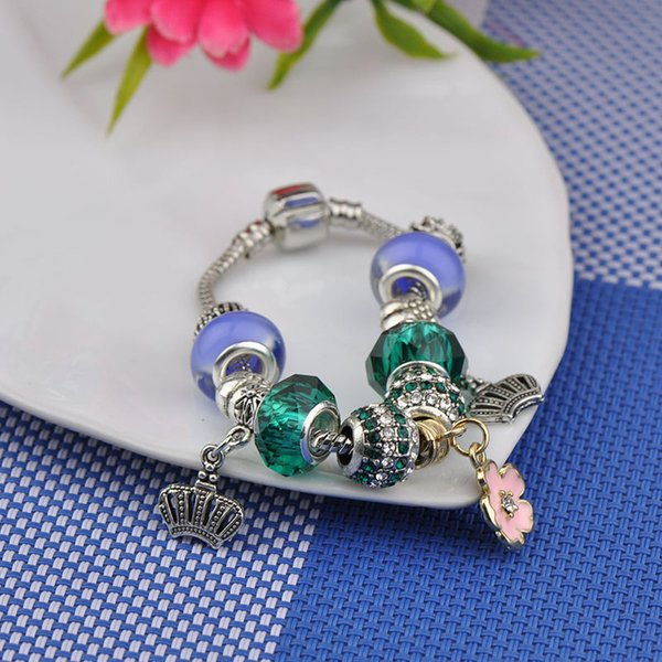 Brand New Fit Pandora Charm Bracelets Women Silver Plated Snake Chain Emerald Murano Glass Crystal Diamond Beads Bangles Flower Pendant P65