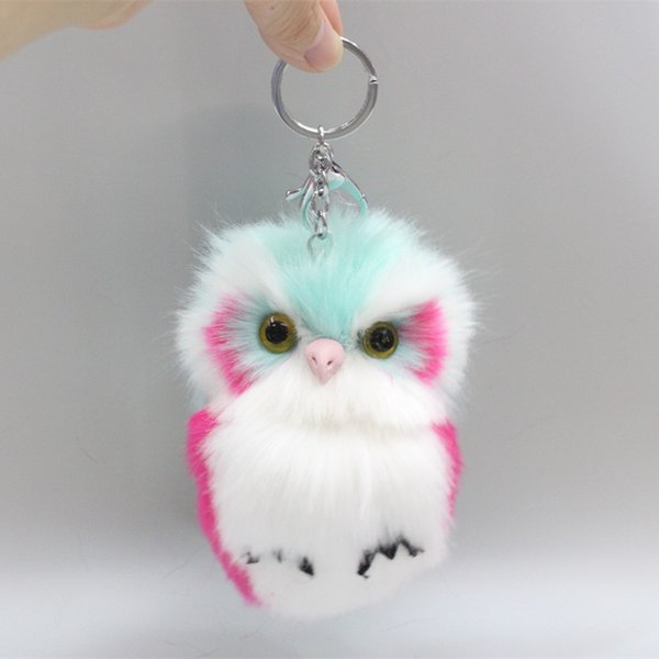 15CM Cute Fluffy Owl Keychain & Pendant Women Key Ring Holder Faux Bunny Rabbit Fur Pompoms Key Chains For Handbag