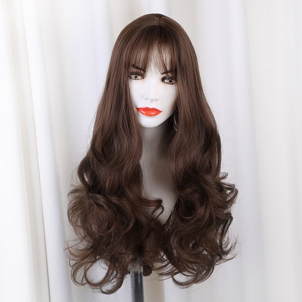 new Fashion DIY Natural Wave Wigs for Women Middle Part Heat Resistant Brown Gray Silver Cosplay Wig hair styling beautiful hot