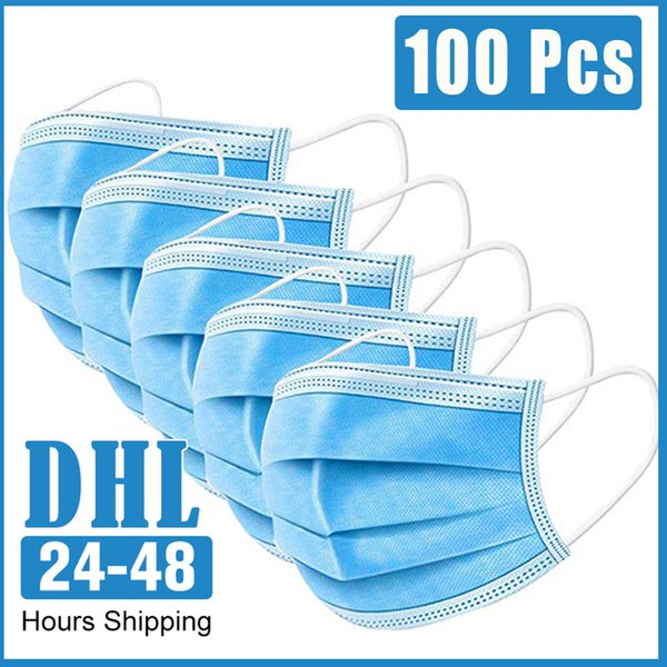 in stock 100 pcs dust-proof masks with elastic earrings 3 layers disposable anti dust virus mouth protective face masks dhl ship