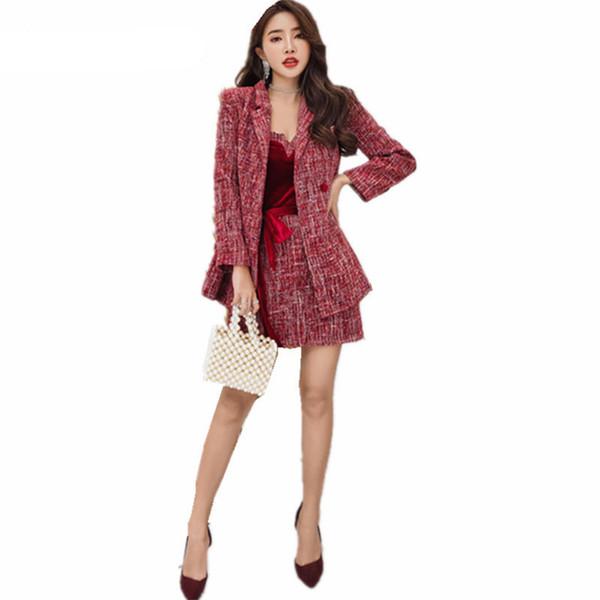 Outono Inverno das Mulheres de Veludo Tubo Top Vestido + Runway Tweed Casaco De Lã de Duas Peças Senhoras Vestido Retro Ternos