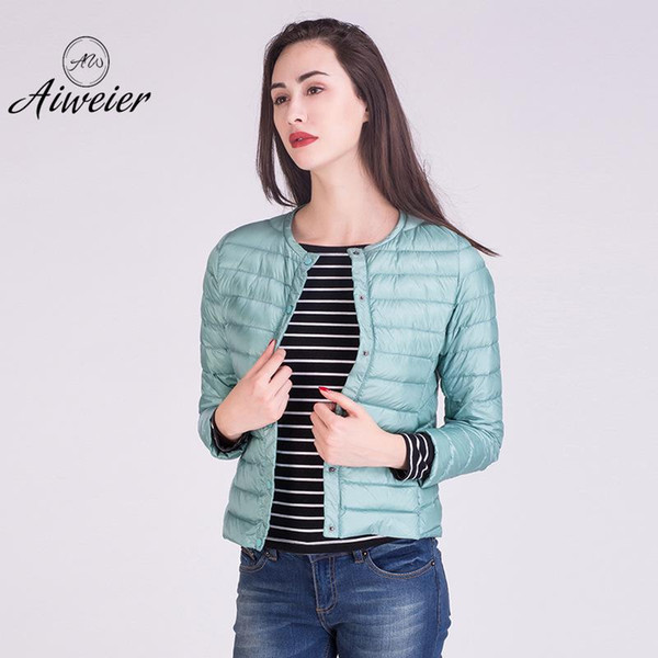 [Aiweier]Womens Down Jackets Solid Single Breasted Thin Autumn Winter O-neck Japan Style European Winter Jackets For Lady AL2201