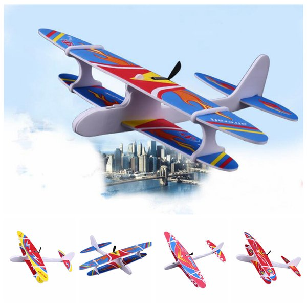 4styles Kids Electric Aircraft Toy Airplane Model Hand Throw Plane Foam Launch Flying Glider Plane For Children Outdoor Game Toy FFA2015